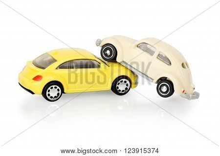 toy cars have crashed isolated on white