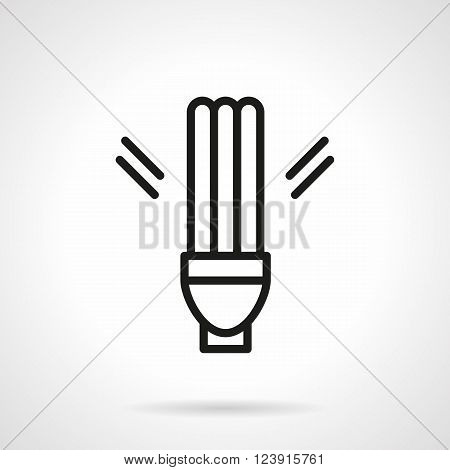 Sign of fluorescent lamp. Energy saving lamp. Modern saving energy and eco-friendly technology. Simple black line vector icon. Single element for web design, mobile app.