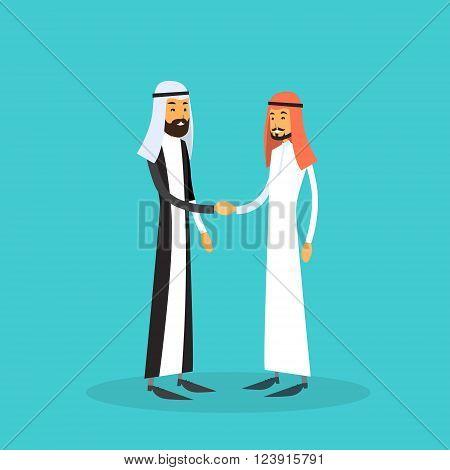 Two Arab Businessman Hand Shake, Muslim Business Man Handshake Agreement Concept Flat Vector Illustration