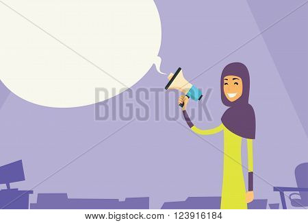 Arab Businesswoman Hold Megaphone Chat Bubble Copy Space Muslim Business Woman Loudspeaker Flat Vector Illustration