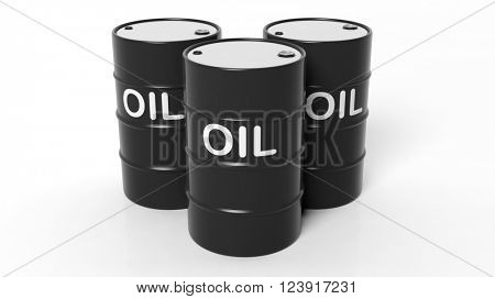3D black oil drums ,isolated on white background, 3d rendering