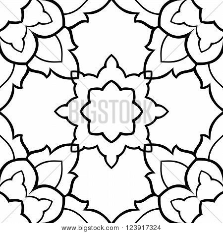 Seamless pattern of simple mandala on a white background. Oriental ornament. Template for carpet shawl tile wallpaper mosaic.
