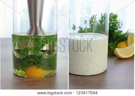glass of cooked cream sauce with dill on a table fresh herbs and lemon
