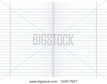 White Double Sheet of Lined Paper (Red and Blue Lines)