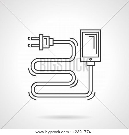 Charger cord with plug and block. Devices charging. Eco power technology. Flat line style vector icon. Single design element for website, business.