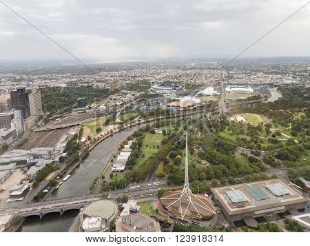 Melbourne - February 23 2016: Aerial view of the beautiful city of Melbourne the river Yarru and the Royal Botanical Garden February 23 2016 Melbourne Australia