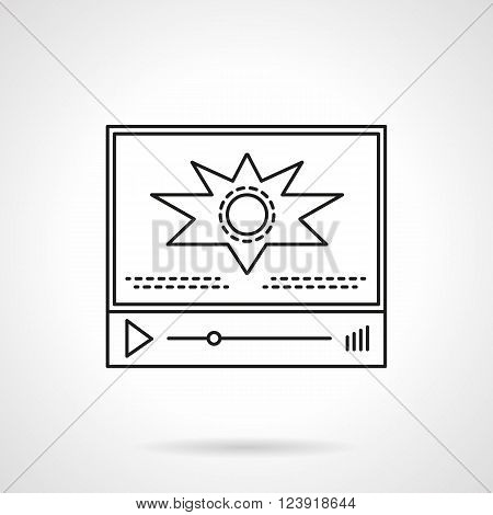 Video player panel with bar and abstract action video sign. Video blog, vlog. Social networks. Online video. Flat line style vector icon. Single design element for website, business.