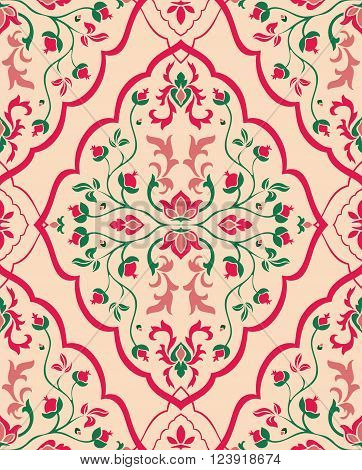 Gentle floral ornament. Template for oriental carpets textiles wallpaper shawl and any surface. Seamless vector pattern of pink and green colors on a beige background.