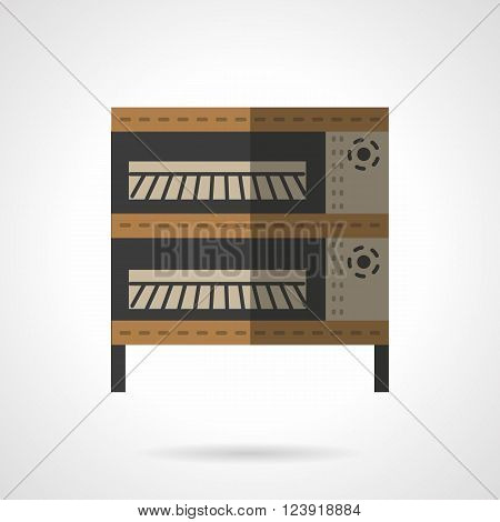 Baking equipment for commercial and domestic kitchen, restaurants and bakery. Oven and stoves theme. Flat color style vector icon. Web design element for site, mobile and business.