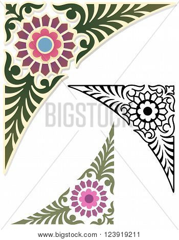 Classic style corner ornament with variations. Decorative Corner Design