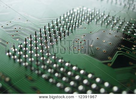 close up of circuit board out of depth of field