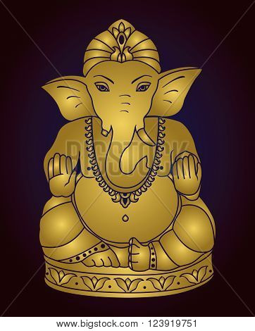 Vector Lord Ganesha. Golden Ganesh on a dark blue  background.