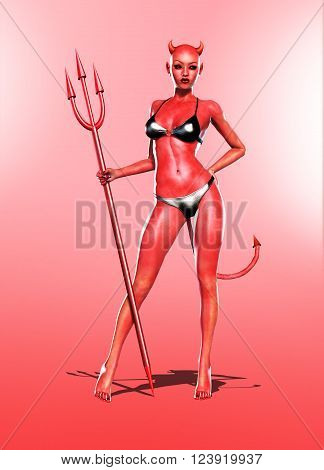 3D Render of a sexy hot She-Devil holding a trident.