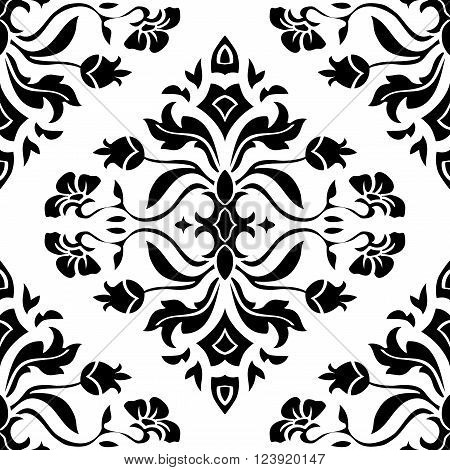 Oriental floral ornament with damask. Templates for carpet textile wallpaper bedcover tile and any surface. Seamless black vector pattern on a white background.