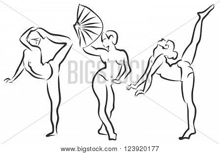 Girl dancing drawing, actress poses, Clean handdrawn Outline Vector Sketch