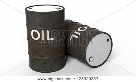3D rusty black oil drums ,isolated on white background, 3d rendering