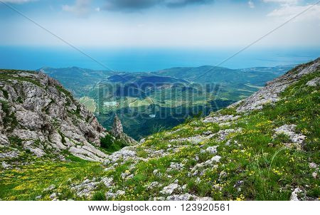 view from the cliff beautiful landscape Crimean mountains flowering alpine meadows Karabi - Yayla Crimea Russia