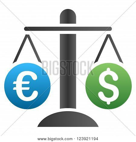 Dollar Euro Compare Scales vector toolbar icon for software design. Style is a gradient icon symbol on a white background.