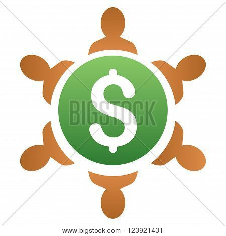 Financial Collaboration Round Table vector toolbar icon for software design. Style is a gradient icon symbol on a white background.