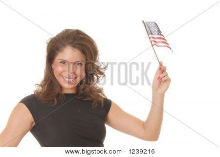 Sexy chica morena con bandera