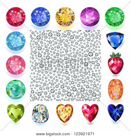 Scattered silver crystals rhinestones isolated on white background framed by gems. Vector illustration