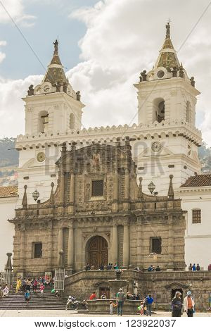 QUITO, ECUADOR, OCTOBER -  2015 - Main facade of ancient San Francisco catholic church located in the historic center of Quito in Ecuador.