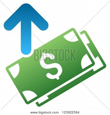Send Banknotes vector toolbar icon for software design. Style is a gradient icon symbol on a white background.
