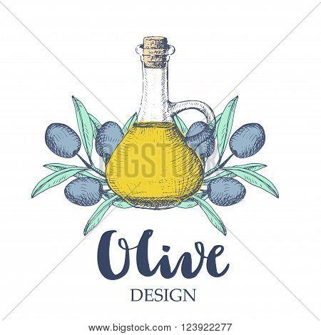 Olive design illustration. Oil bottle and olive branches on white background.