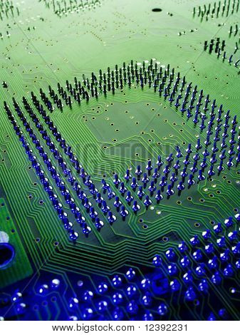 close up of circuit board