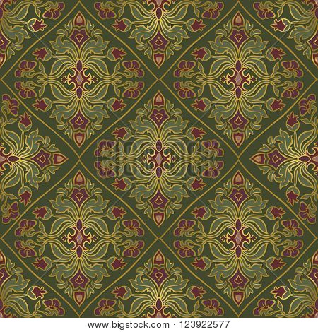 Oriental floral ornament with damask. Templates for carpet textile wallpaper bedcover and any surface. Seamless vector pattern of gold contours on a green background.