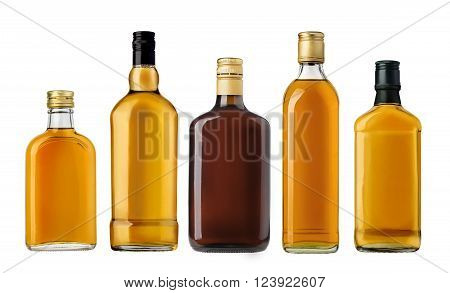 Bottles of whiskey isolated on a white background with clipping path