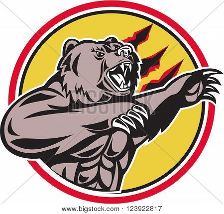 Illustration of a angry California grizzly North American brown bear swiping his paw attacking done in retro style set inside circle.