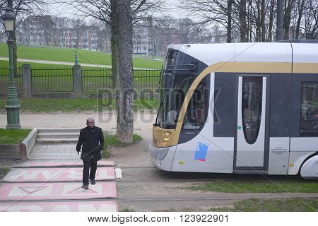 Brussels, Belgium - February, 13, 2016: Train in Brussels, Belgium