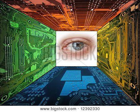 ojo humano enmarcado por circuitos de computadora