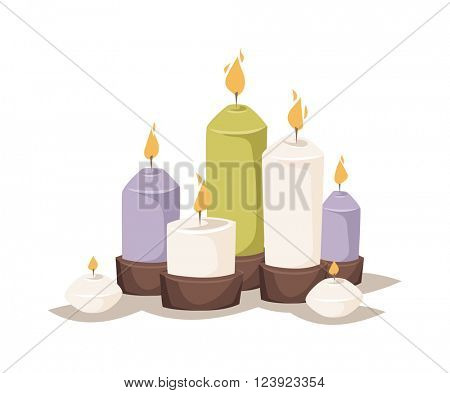 Cartoon candles wax and colorful cartoon candles. Night glowing decorations cartoon candles, romantic burn. Cartoon burning candles with candle holder and fire wax flame bright decoration flat vector.