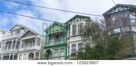 Traditional Victorian wooden residential architecture intersected by old heavy powerlines Tinakori Wellington New Zealand ** Note: Soft Focus at 100%, best at smaller sizes