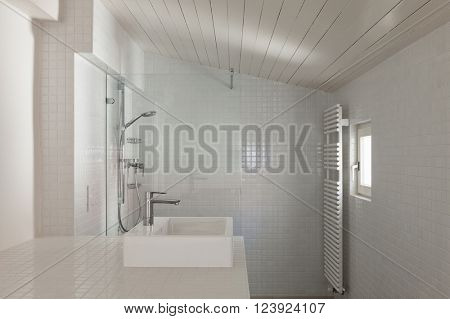Architecture, bathroom of old loft, tiled walls