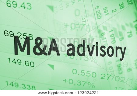 Inscription M&A advisory on a financial background.