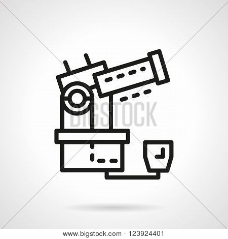 Observatory equipment. Large optical electric telescope. Space research. Science and education. Simple black line vector icon. Single element for web design, mobile app.