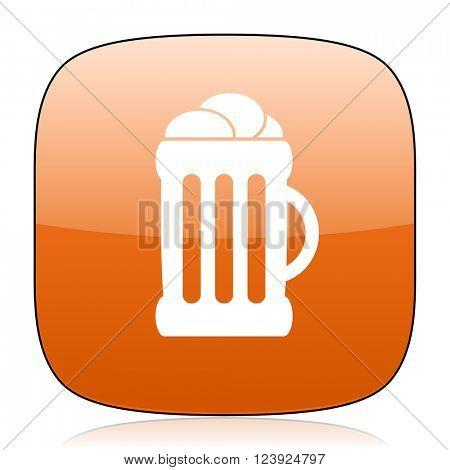beer orange square glossy web icon