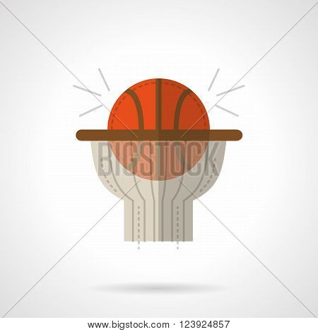 Basketball goal symbol. Orange ball in hoop with net.  Direct hit. Sport success. Flat color style vector icon. Web design element for site, mobile and business.