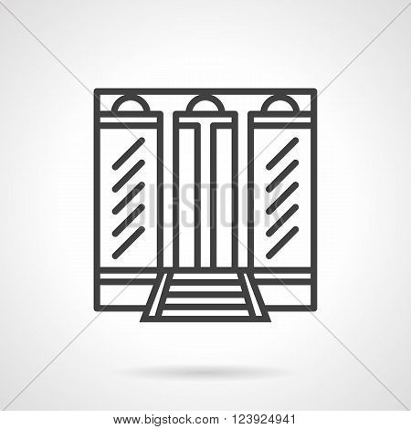 Facade of building with large glass windows and door with arch elements. Boutique. Storefronts and showcases. Simple black line vector icon. Single element for web design, mobile app.