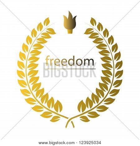 Gold wreath with word freedom and creeset over white. Vector illustration of wreath of golden leaves on a white background.