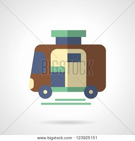 Brown camping trailer. Vehicles for comfortable travel. Mode of transport.  Flat color style vector icon. Web design element for site, mobile and business.