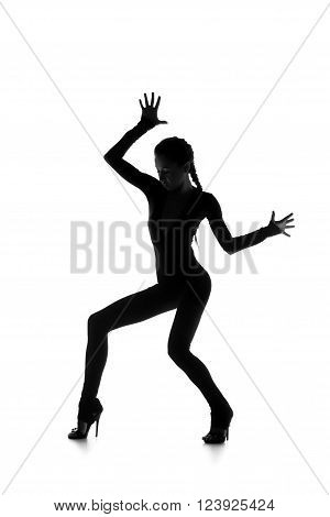 Sexy young dancer isolated on white studio shot