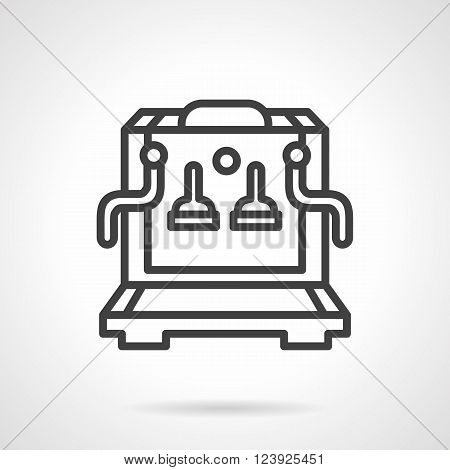 Coffee making equipment. Coffee machine. Restaurant and cafe appliances. Simple black line vector icon. Single element for web design, mobile app.