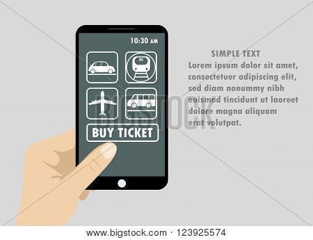 Flat design style vector illustration of modern smartphone with application tickets for different types of transport on the screen.