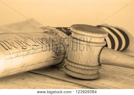 United States Constitution gavel and USA flag SEPIA TONE