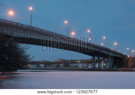 Volgograd, Russia - February 20, 2016: Night View Of The Bridge Across The Volga-don Canal Lenin In