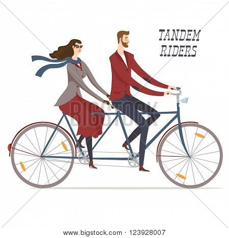 Elegant man cyclist and lady cyclist on vintage tandem bicycle. Colorful editable vector illustration for your design.